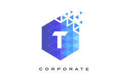 T Blue Hexagonal Letter Logo Design with Mosaic Pattern. T Blue Hexagonal Letter Logo Design with Mosaic Blue Pattern royalty free illustration