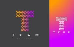 T-bokstav Logo Technology FörbindelseDots Letter Design Vector Royaltyfria Bilder