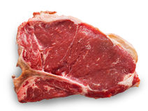 T-bone cut beef isolated on white