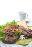 T Bone Pepper Steak with coffee cup Royalty Free Stock Images