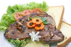T Bone Pepper Steak with vegetable Royalty Free Stock Images
