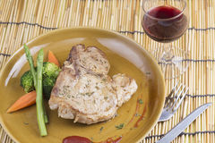 T-bone pork steak and red wine Stock Images