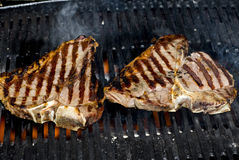 T-bone steak on bbq fire stock photos