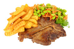 T-Bone Steak And Chips Meal With Salad Stock Photos