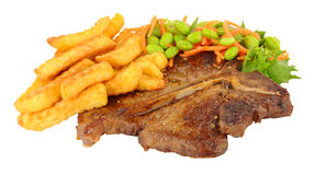 T-Bone Steak And Chips Meal With Salad Stock Images