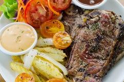 T bone steak. Close up Stock Photos