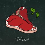 T-Bone Steak Cut Vector Isolated On Chalkboard Background. Royalty Free Stock Photography