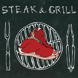 T-Bone Steak on the Grill for Barbecue, Tongs and Fork. Lettering Steak and Grill. Realistic Doodle Cartoon Style Hand vector illustration