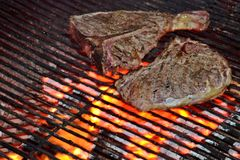 T-bone steak on the grill Stock Photos