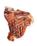 T-bone steak. Grilled T-bone steak. Isolated on white background. Top view Royalty Free Stock Images