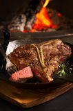 T-Bone Steak in a Pan Royalty Free Stock Photos