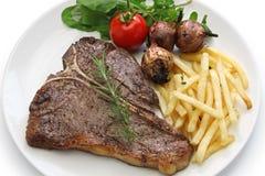 T-bone steak,porterhouse steak,bistecca alla fiorentina. Isolated on white background Stock Photo
