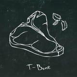 T-Bone-Steak-Schnitt-Vektor lokalisiert auf Tafel-Hintergrund-Entwurf Stockbilder