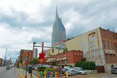 AT&T Building and Broadway, Nashville, Tennessee royalty free stock photo