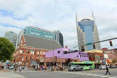 AT&T Building and Broadway, Nashville, Tennessee Royalty Free Stock Photos