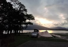 Camping on the banks of Loch Lomond stock photography