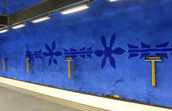 T-Centralen station on the Blue Line, designed by Per Olof Ultvedt Royalty Free Stock Images