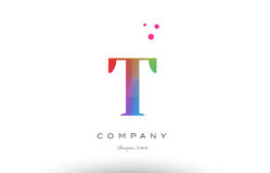 T colored rainbow creative colors alphabet letter logo icon Royalty Free Stock Image