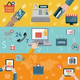 T-commerce banner flat Royalty Free Stock Photo