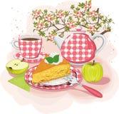 Tè con il grafico a torta di mela Fotografia Stock Libera da Diritti
