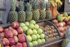Fruit counter was pulled at an angle. royalty free stock photo