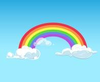 Tęcza i chmury przeciw niebieskiemu niebu Zdjęcia Stock