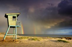 Tęcza przy morzem Zdjęcie Royalty Free