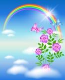 Tęcza w kwiatach i niebie Fotografia Stock