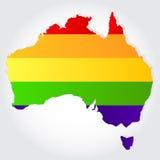 Tęczy flaga w konturze Australia Zdjęcie Royalty Free