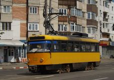 T4D-MT tram from Botosani. T4 is the name of a tram produced by ČKD Tatra. It is the narrower variant of the Tatra T3 model. This model is an T4D-MT from Royalty Free Stock Photos