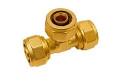 T de bronze para as tubulações plásticas Imagem de Stock Royalty Free