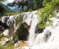 Été de vallée de jiuzhai de cascade à écriture ligne par ligne de banc de perle Photos stock