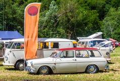 T1 de VW, t2 y squareback en un día soleado Fotos de archivo libres de regalías