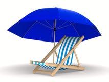 tła deckchair parasol biel Zdjęcia Stock