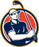 T del giocatore di golf fuori dal cerchio di golf retro Fotografia Stock Libera da Diritti