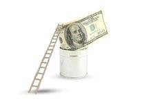 tła dolarów drabinowy biel Zdjęcia Royalty Free