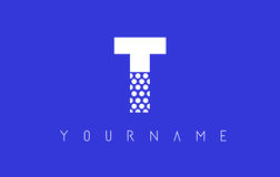 T Dotted Letter Logo Design with Blue Background. Stock Photo