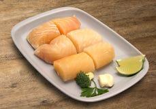 tła drewniany rybi surowy Zdjęcia Royalty Free
