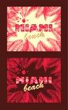 T druków koszulowa różnica z gorących menchii liści palmową ramą i Miami plażowy literowanie z różowym flamingiem royalty ilustracja