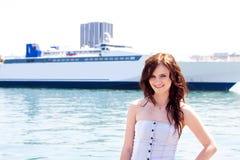 tła dziewczyny liniowa ocean Obraz Royalty Free