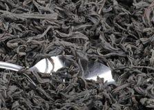 T e cucchiaino da tè neri Immagini Stock Libere da Diritti