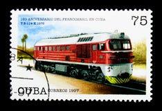 T e 114-K (Unión Soviética 1975), 160 años de ferrocarriles cubanos: Locomot Foto de archivo libre de regalías