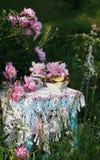 T? en estilo rural en jard?n del verano Dos tazas de t? negro y de crepes en mantel de encaje hecho a ganchillo hecho a mano del  imagen de archivo libre de regalías