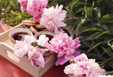 T? en estilo rural en jard?n del verano en el pueblo Dos tazas de t? negro en la bandeja de madera y las flores florecientes de l foto de archivo