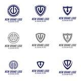 T et élément de conception de logo de lettre de C, T et U Logo Vector, T, C, et U Logo Icon, logo d'icône de sécurité Images stock