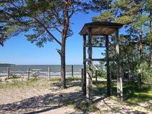 For?t et plage de pin de c?te du golfe de Finlande sur la c?te de la Mer du Nord photos stock