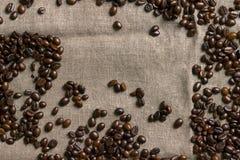 tła fasoli burlap kawa Zdjęcia Royalty Free