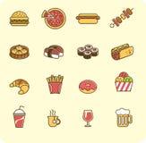 tła fasta food ikony odosobniony ustalony biel Zdjęcia Royalty Free