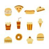 tła fasta food ikony odosobniony ustalony biel Zdjęcie Stock