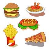 tła fasta food ikony odosobniony ustalony biel Fotografia Stock
